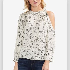 Faux Stitch Floral Cold Shoulder Top